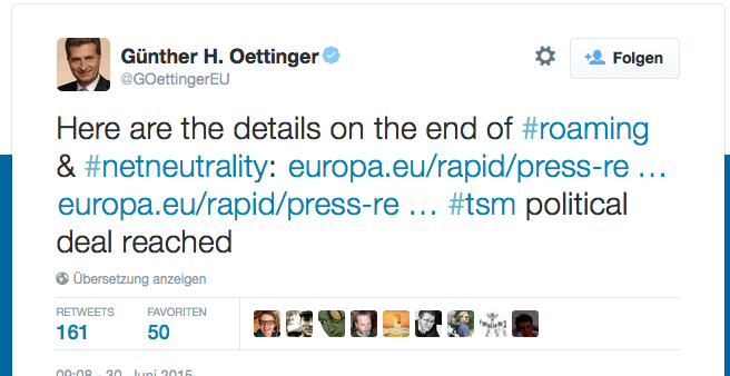 Tweet of Günter Öttinger
