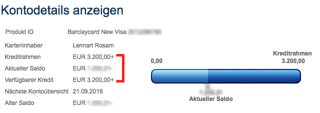 "If the ""Available credit"" (Verfügbarer Kredit) and ""Credit limit"" (Kreditrahmen) do match, the payment was processed, despite there is still a balance shown"