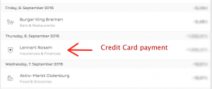 This is shown in both the N26 app and online banking. The marked transaction on September 8th is the outgoing transfer to pay of the credit card.